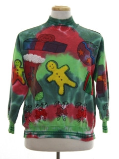 1980's Womens Vintage Hand Tie Dyed Ugly Christmas Sweatshirt