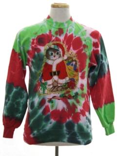 1980's Unisex Vintage Hand Tie Dyed Cat-Tastic Ugly Christmas Sweatshirt