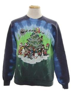 1980's Unisex Hand Tie Dyed Vintage Ugly Christmas Sweatshirt
