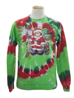 1980's Unisex Hand Tie Dyed Bear-riffic Vintage Ugly Christmas Sweatshirt