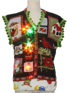 1990's Unisex Vintage Hand Embellished Multicolor Lightup Ugly Christmas Sweater Vest