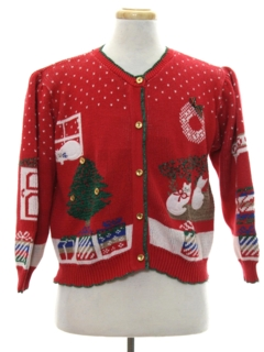 1980's Womens Vintage Cat-Tastic Ugly Christmas Sweater