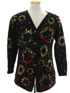 1990's Womens Designer Ugly Christmas Cardigan Sweater