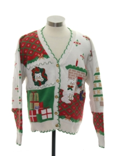 1980's Womens Vintage Cat-Tastic Ugly Christmas Cardigan Sweater