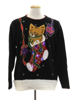 1990's Unisex Hand Embellished Cat-Tastic Ugly Christmas Sweater