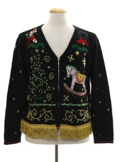 1990's Unisex Hand Embellished Ugly Christmas Cardigan Sweater