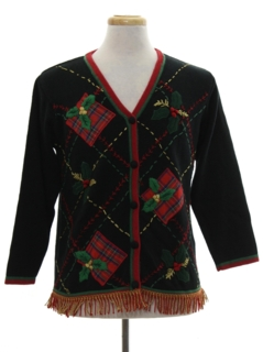 1990's Unisex Hand Embellished Ugly Christmas Cardigan Sweater