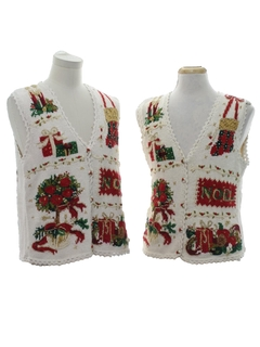 1990's Unisex Ugly Christmas Matching Set of Sweater Vests