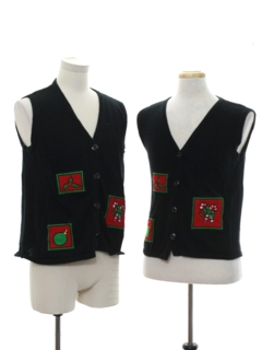 1990's Unisex Matching Set of Minimalist Ugly Christmas Sweater Vests