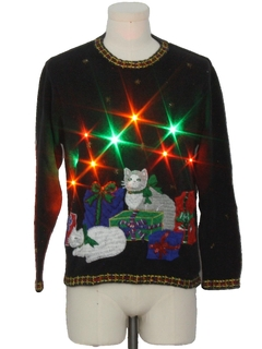 1990's Unisex Vintage Multicolor Lightup Cat-Tastic Ugly Christmas Sweater