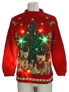 1990's Unisex Vintage Multicolor Lightup Bear-riffic Ugly Christmas Sweater