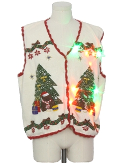 1990's Unisex Multicolor Lightup Bear-riffic Ugly Christmas Sweater Vest