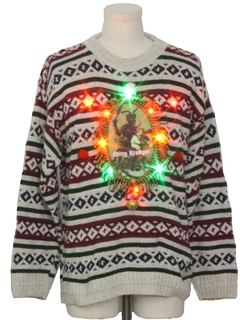 1990's Unisex Multicolor Lightup Krampus Ugly Christmas Sweater