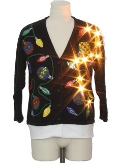1990's Unisex Hand Embellished Lightup Ugly Christmas Cardigan Sweater