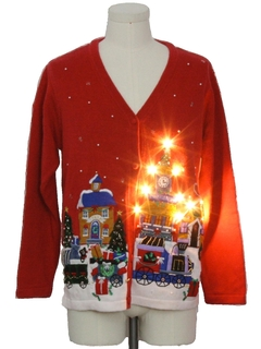 1990's Unisex Lightup Ugly Christmas Cardigan Sweater