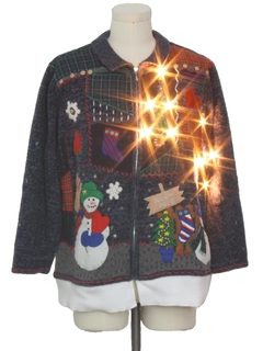 1990's Unisex Hand Embellished Lightup Ugly Christmas Sweater