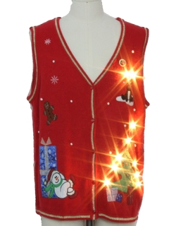 1980's Unisex Lightup Ugly Christmas Sweater Vest