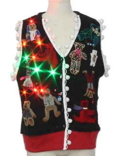 1990's Unisex Hand Embellished Multicolor Lightup Bear-riffic Ugly Christmas Sweater Vest