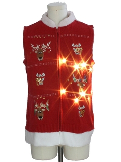 1990's Unisex Hand Embellished Lightup Ugly Christmas Sweater Vest