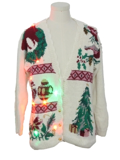 1990's Unisex Multicolor Lightup Ugly Christmas Cardigan Sweater