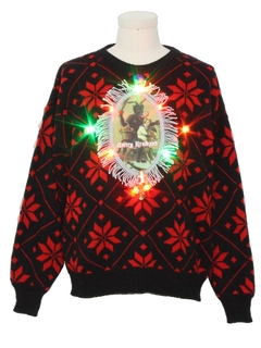 1980's MensMulticolor Lightup Krampus Ugly Christmas Vintage Sweater