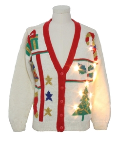 1980's Unisex Lightup Ugly Christmas Vintage Cardigan Sweater