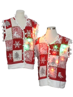 1980's Unisex Hand Embellished Multicolor Lightup Ugly Christmas Matching Set of Sweater Vests