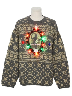 1980's MensMulticolor Lightup Krampus Ugly Christmas Sweater