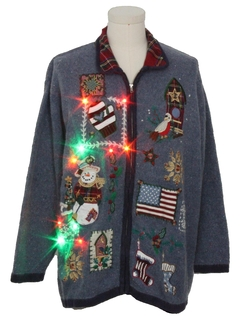 1980's Unisex Multicolor Lightup Patriotic Country Kitsch Ugly Christmas Sweater