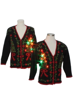 1980's Unisex Matching Set of Two Multicolor Lightup Ugly Christmas Cardigan Sweaters