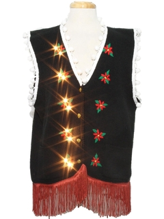 1980's Unisex Hand Embellished White Lights Lightup Ugly Christmas Sweater Vest