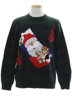 1990's Mens Hand Embellished Ugly Christmas Sweater