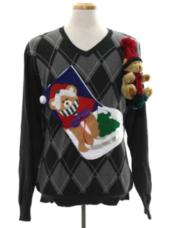 1990's Mens Vintage Hand Embellished Ugly Christmas Sweater