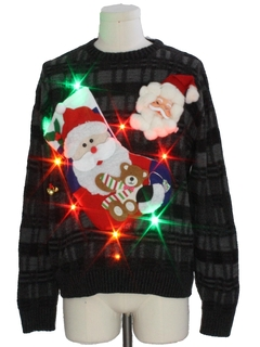 1980's Mens Multicolor Lightup Hand Embellished Ugly Christmas Sweater