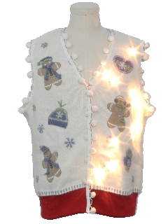 1990's Unisex Bear-riffic Hand Embellished Lightup Ugly Christmas Sweater Vest
