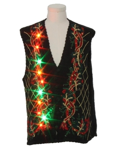 1990's Unisex Vintage Multicolor Lightup Ugly Christmas Sweater Vest