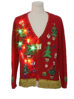 1990's Unisex Hand Embellished Multicolor Lightup Ugly Christmas Cardigan Sweater