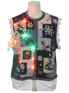 1990's Unisex Hand EmbellishedMulticolor Lightup Ugly Christmas Sweater Vest