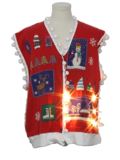 1990's Unisex Vintage Hand Embellished Lightup Ugly Christmas Sweater Vest