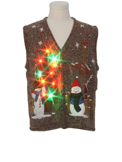 1990's Womens Multicolor Lightup Country Kitsch Ugly Christmas Sweater Vest