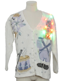 1990's Unisex Multicolor Lightup Bear-riffic Ugly Christmas Cardigan Sweater