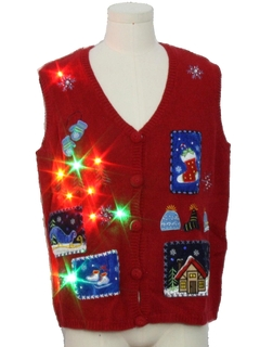 1990's Unisex Multicolor Lightup Ugly Christmas Sweater Vest