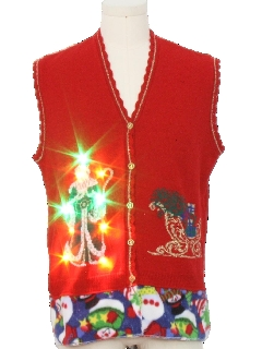 1980's Unisex Vintage Hand Embellished Multicolor Lightup Ugly Christmas Sweater Vest