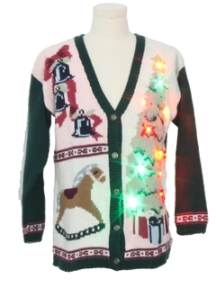 1990's Unisex Vintage Multicolor Lightup Ugly Christmas Cardigan Sweater