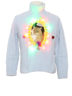 1990's Womens Multicolor Lightup Catmus Ugly Christmas Sweater