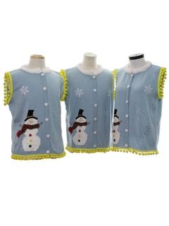 1990's Unisex Hand Embellished Ugly Christmas Matching Set of Three Sweater Vests