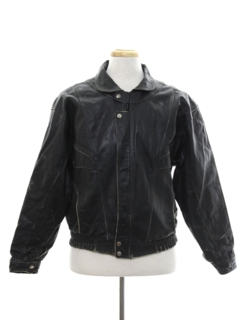 1980's Mens Totally 80s Bomber Style Leather Motorcycle Jacket