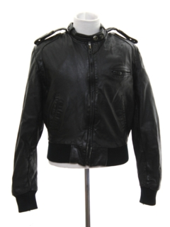 1980's Unisex/Childs Cafe Racer Members Only Style Leather Jacket