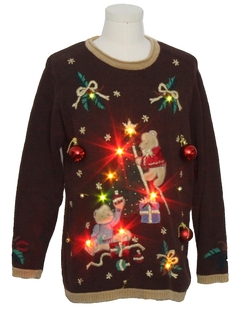 1990's Unisex Bear-iffic Multicolor Lightup Hand Embellished Ugly Christmas Vintage Sweater