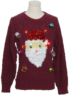 1990's Unisex Hand Embellished Red Lightup Ugly Christmas Vintage Sweater